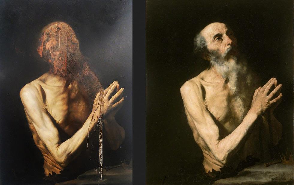 A sinistra, Nicola Samorì, La caduta dei giganti (2017; olio su rame, 70 x 50 cm). A destra, cerchia di José de Ribera, San Girolamo (prima metà del XVII secolo; olio su tela, 92,7 x 70,5 cm; Collezione privata)