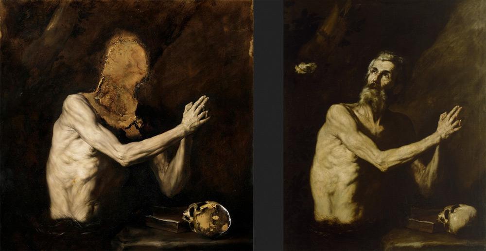 A sinistra, Nicola Samorì, Le formiche (2017; olio su rame, 100 x 100 cm. Courtesy Galerie EIGEN + Art, Lipsia / Berlino). A destra, José de Ribera, San Paolo eremita (1632 circa; olio su tela, 132,7 x 106,7 cm; Baltimora, The Walters Art Museum)