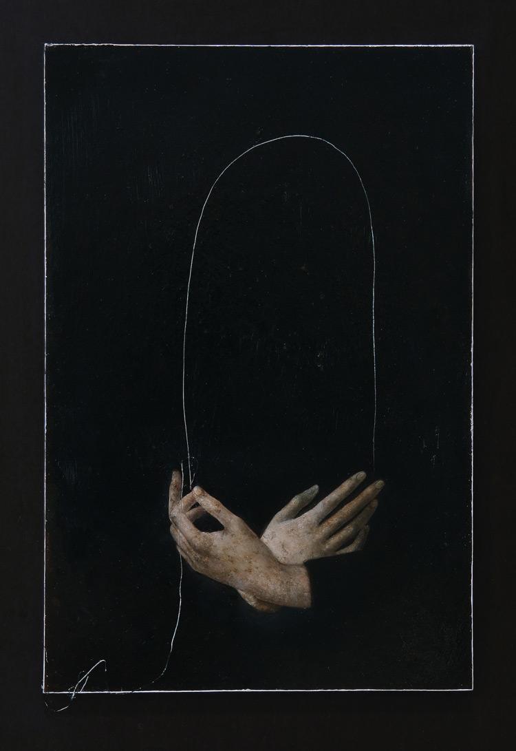 Nicola Samorì, In principio era la fine (2016; olio su rame, 30 x 20 cm. Courtesy Monitor Gallery, Roma)