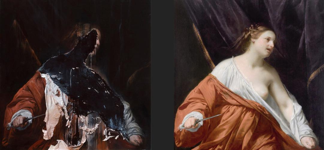 A sinistra, Nicola Samorì, Lucrezia (2010; olio su tavola, 100 x 100 x 5 cm). A destra, Guido Cagnacci, Lucrezia (1636-1640 circa; olio su tela, 114x112 cm; Collezione privata)