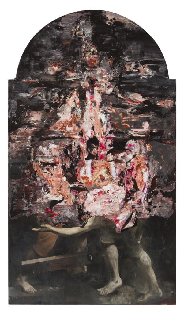 Nicola Samorì, San Pietro all'inferno (2016; olio su tela di lino, 300 x 170 cm. Courtesy Monitor Gallery, Roma)