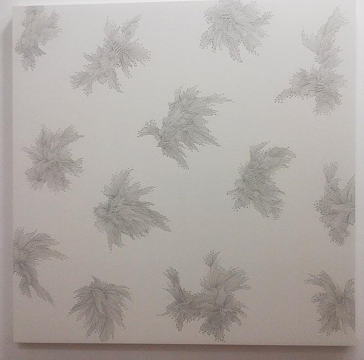 Andrea Bianconi, Drawing 1 (2018; inchiostro su tela, 150 x 150 cm; courtesy Barbara Davis Gallery, Houston TX, USA)