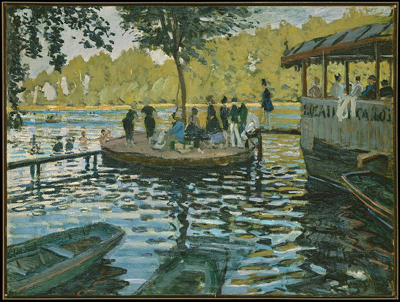 Claude Monet, La Grenouillère (1869; olio su tela, 74,6 x 99,7 cm; New York, Metropolitan Museum)