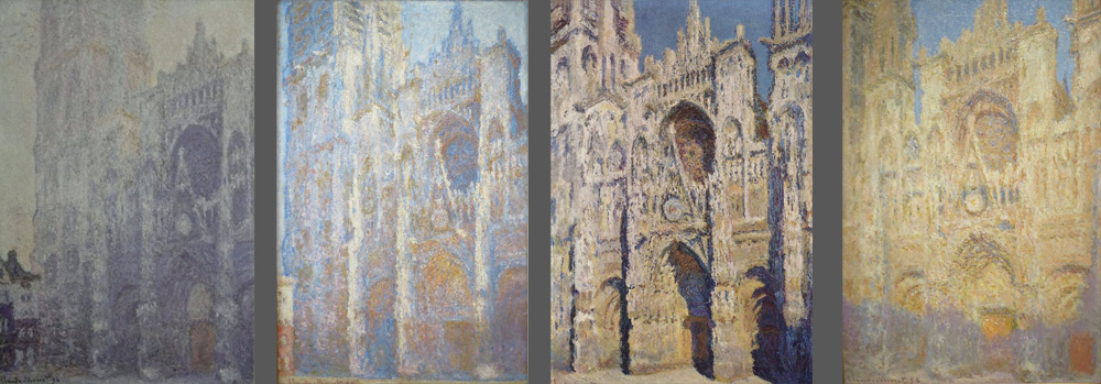 Claude Monet, da sinistra: Cattedrale di Rouen, Harmonie blanche, al primo sole (1893; olio su tela, 106 x 73 cm; Parigi, Musée d'Orsay), Cattedrale di Rouen a mezzogiorno (1894; olio su tela, 100 x 65 cm; Mosca, Museo Pushkin), Cattedrale di Rouen in pieno sole (1894; olio su tela, 107 x 73 cm; Parigi, Musée d'Orsay), Cattedrale di Rouen al tramonto (1894; olio su tela, 101 x 65 cm; Mosca, Museo Pushkin)