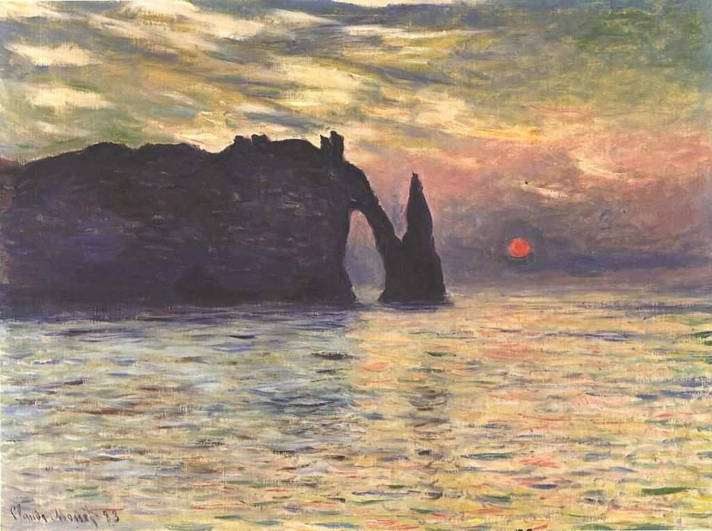 Claude Monet, Scogliera a Étretat al tramonto (1883; olio su tela, 60,5 x 81,8 cm; Raleigh, North Carolina Museum of Art)
