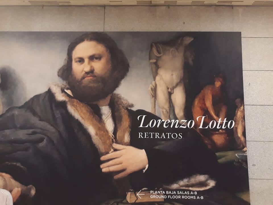 Ingresso della mostra Lorenzo Lotto. Retratos al Prado di Madrid
