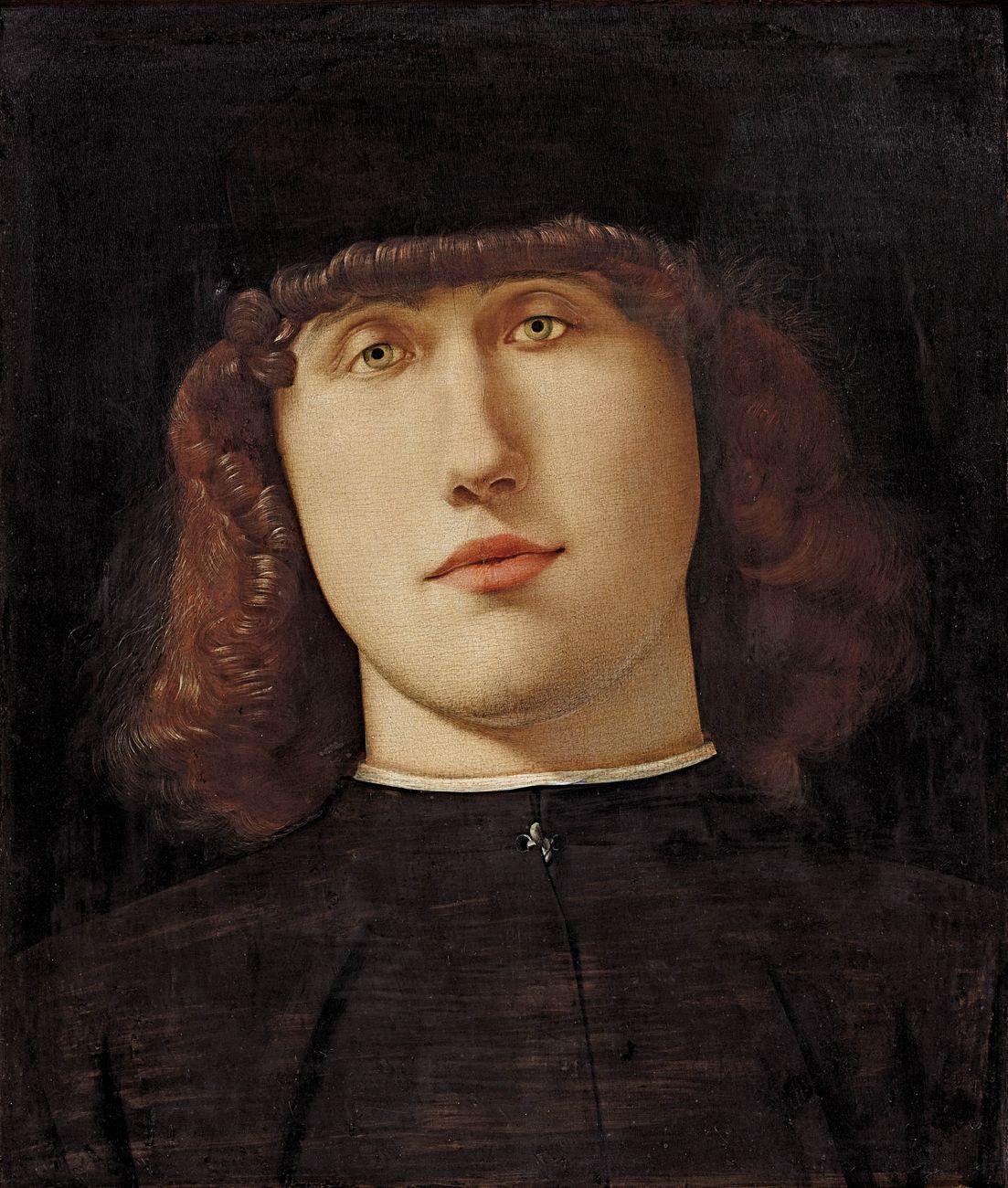Lorenzo Lotto, Ritratto di giovane (1498-1500 circa; olio su tavola, 34,2 x 27,9 cm; Bergamo, Accademia Carrara