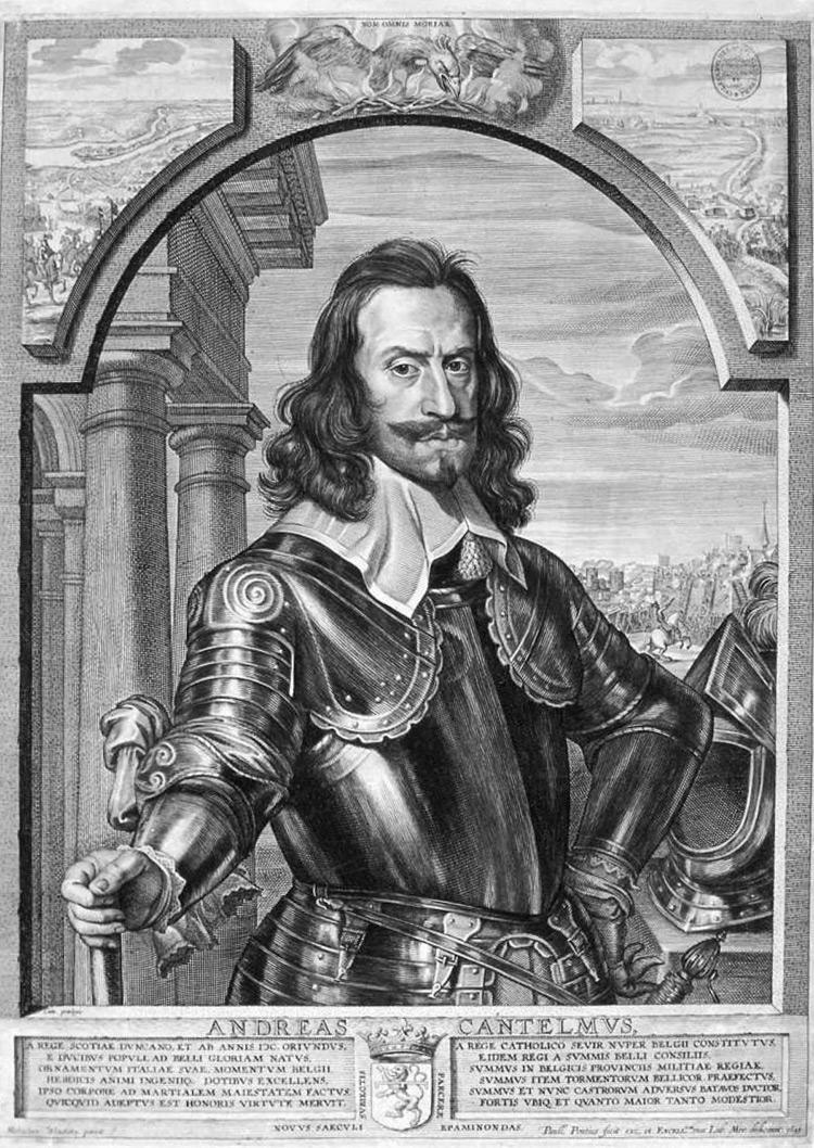 Paulus Pontius da Michaelina Wautier, Ritratto di Andrea Cantelmo (1643; incisione su carta, 403 x 298 mm; Collezione privata)