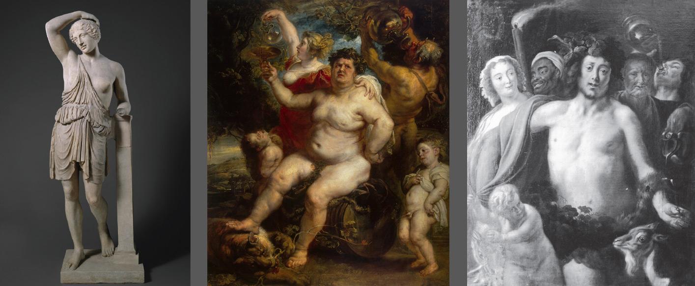 Modelli per il Trionfo di Bacco. Da sinistra a destra: Arte romana, copia da originale greco, Amazzone ferita (450 a.C. circa; marmo; New York, Metropolitan Museum); Pieter Paul Rubens, Bacco su di un barile di vino (1638-1640 circa; olio su tela, 191 x 161,3 cm; San Pietroburgo, Hermitage); Da Jacob Jordaens, Baccanale (1650 circa; olio su tela, 157 x 100 cm; Le Puy, Musée Crozatier)