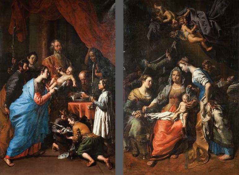 A sinistra: Theodoor van Loon, Presentazione al tempio (1623-1628 circa; olio su tela, 257 x 180 cm; Scherpenheuvel, Basilica di Nostra Signora). A destra: Theodoor van Loon, Nascita della Vergine (1623-1628 circa; olio su tela, 257 x 180 cm; Scherpenheuvel, Basilica di Nostra Signora)