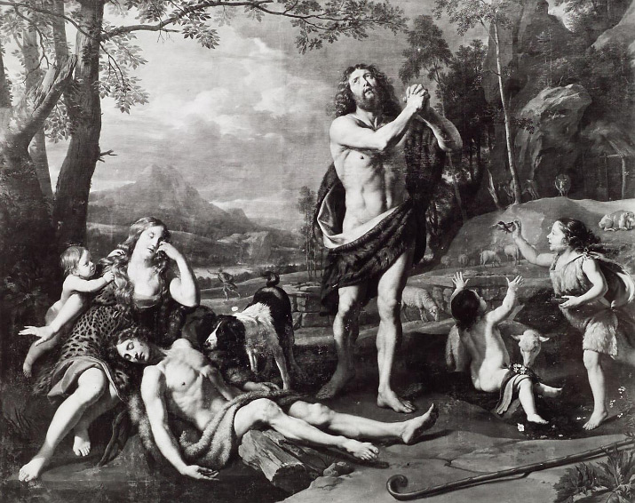 Philippe de Champaigne, Adamo ed Eva piangono la morte di Abele (1656; olio su tela, 312 x 394 cm; Vienna, Kunsthistorisches Museum)