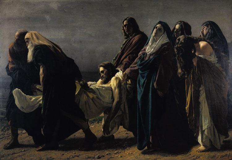 Antonio Ciseri, Trasporto di Cristo al sepolcro (1864-1870; olio su tela, 190 x 273 cm; Orselina, Santuario della Madonna del Sasso)