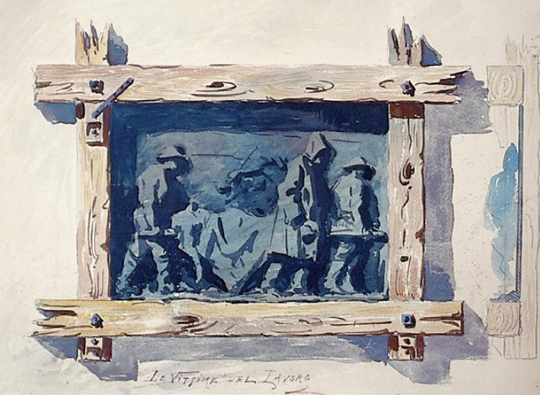 Augusto Guidini (attribuito a), Progetto per la cornice delle Vittime dele lavoro (matita e acquerello su carta, 616 x 558 mm; Ligornetto, Museo Vincenzo Vela)