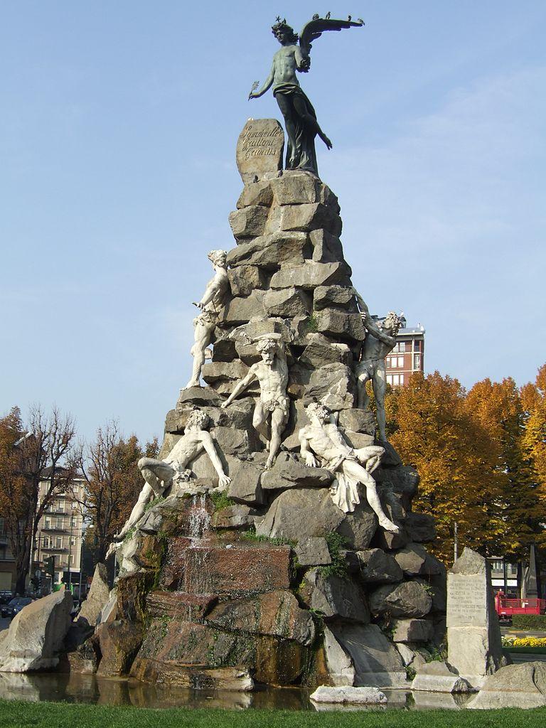 Luigi Belli, Monumento ai caduti del traforo del Fréjus (1879; Torino, Piazza Statuto)