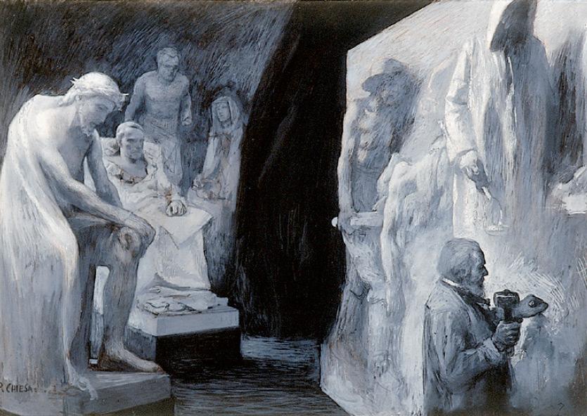 Pietro Chiesa, Vincenzo Vela alle prese con le Vittime del lavoro vegliato dai suoi capolavori (prima del 1906; tecnica mista su carta, 420 x 605 mm; Ligornetto, Museo Vincenzo Vela)