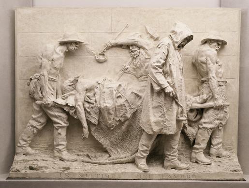 Vincenzo Vela, Monumento alle vittime del lavoro (1882; gesso, modello originale, 255 x 332,5 x 66 cm; Ligornetto, Museo Vincenzo Vela)