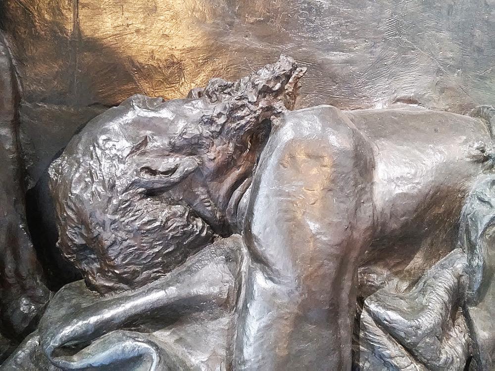 Vincenzo Vela, Monumento alle vittime del lavoro, volto del lavoratore morto