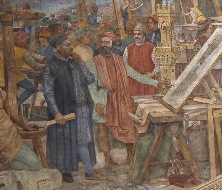 Dettaglio del dipinto della costruzione della torre del castello con Gino Coppedè che illustra il progetto a Evan Mackenzie