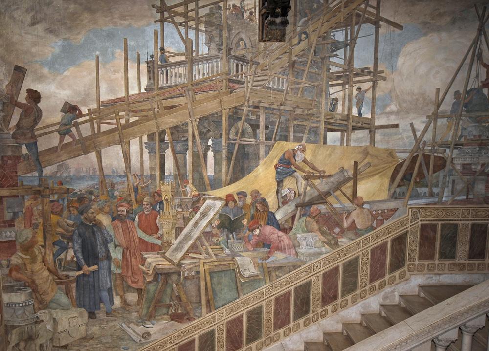 Carlo Coppedè, La costruzione della torre del Castello Mackenzie (1900-1902 circa; dipinto murale; Genova, Castello Mackenzie)
