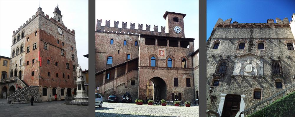 Da sinistra a destra: Prato, Palazzo Pretorio; Castell'Arquato, Palazzo del Podestà; Monselice, Torre Ezzeliniana. Ph. Credit Finestre sull'Arte