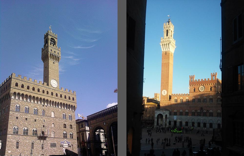 La Torre di Arnolfo a Firenze e la Torre del Mangia a Siena. Ph. Credit Finestre sull'Arte