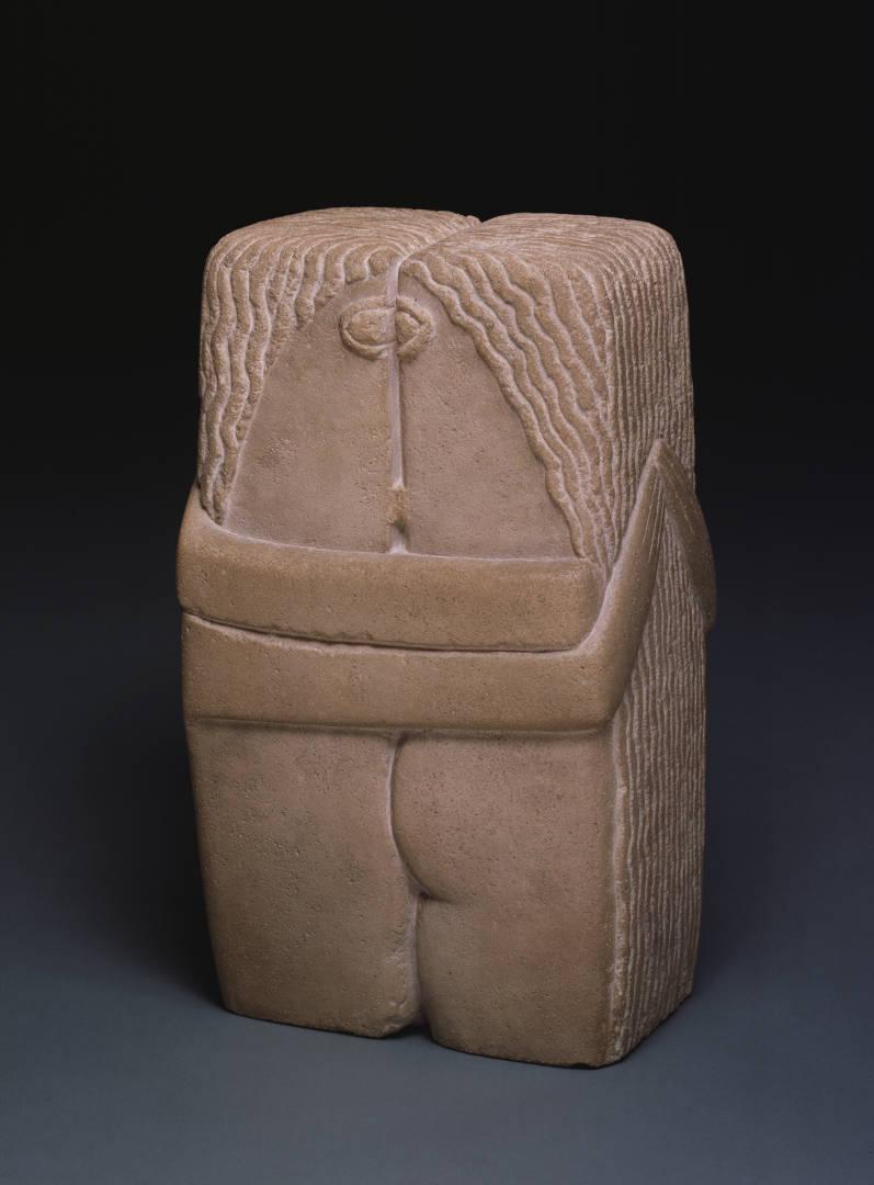 Constantin Brâncuși, Il bacio (1916; calcare, 58,4 x 33,7 x 25,4 cm; Filadelfia, Philadelphia Museum of Art)