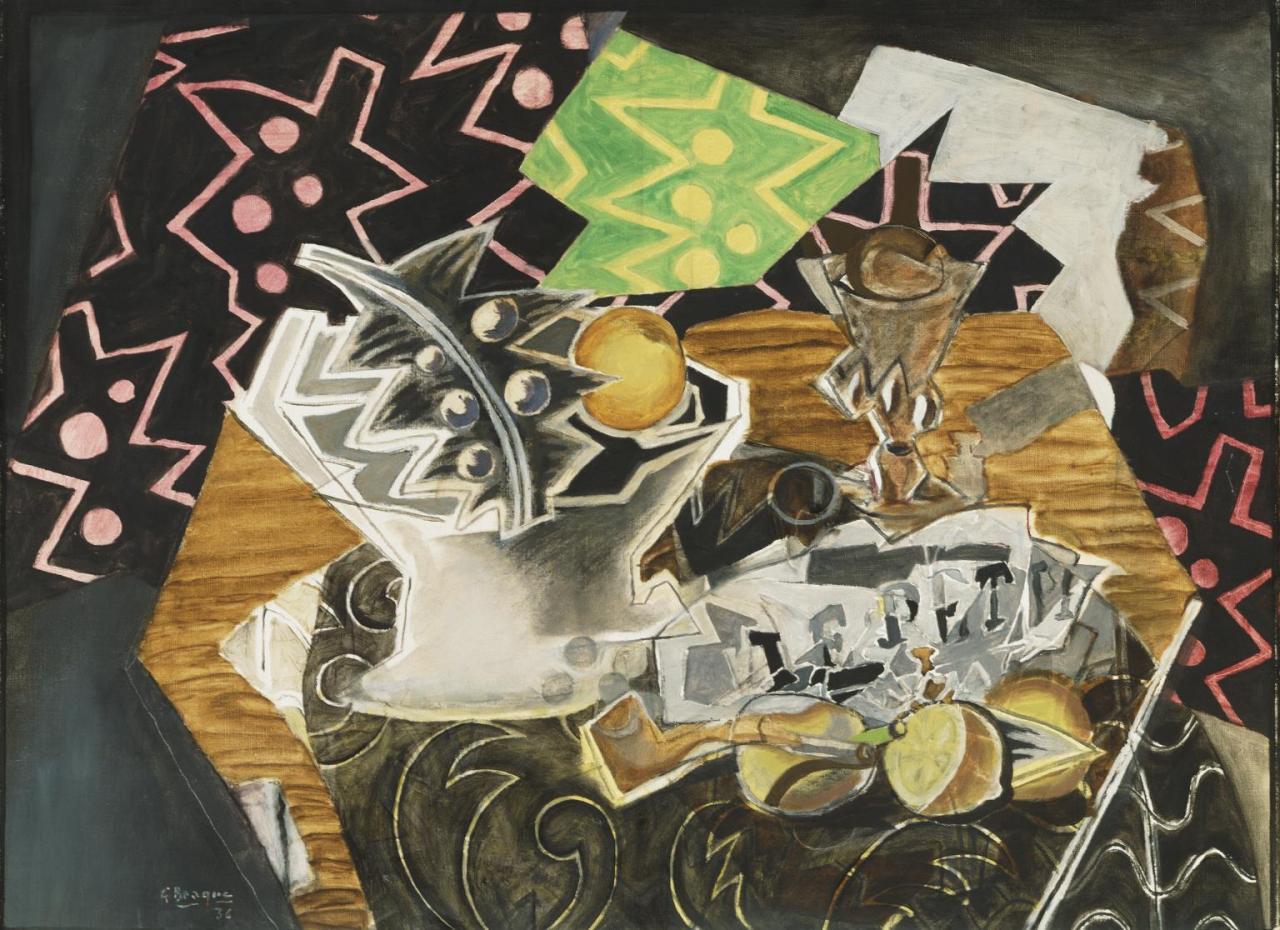 Georges Braque, Natura morta con piatto di frutta (1936; olio su tela, 60,3 x 81,3 cm; Filadelfia, Philadelphia Museum of Art)