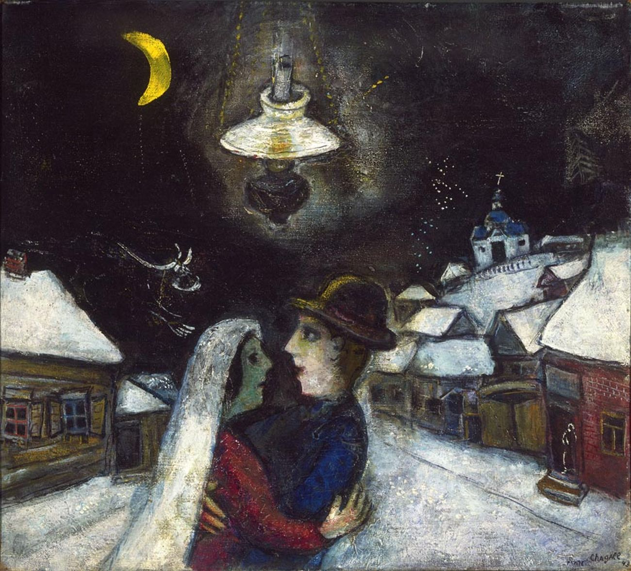 Marc Chagall, Nella notte (1943; olio su tela, 47 x 52,4 cm; Filadelfia, Philadelphia Museum of Art)