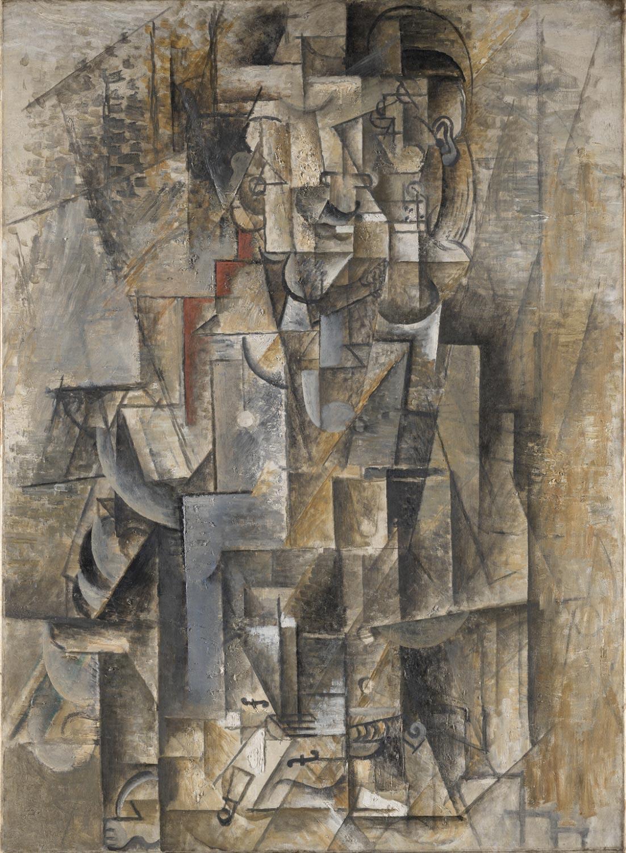 Pablo Picasso, Uomo col violino (1911-1912; olio su tela, 116,8 x 89,5 cm; Filadelfia, Philadelphia Museum of Art)