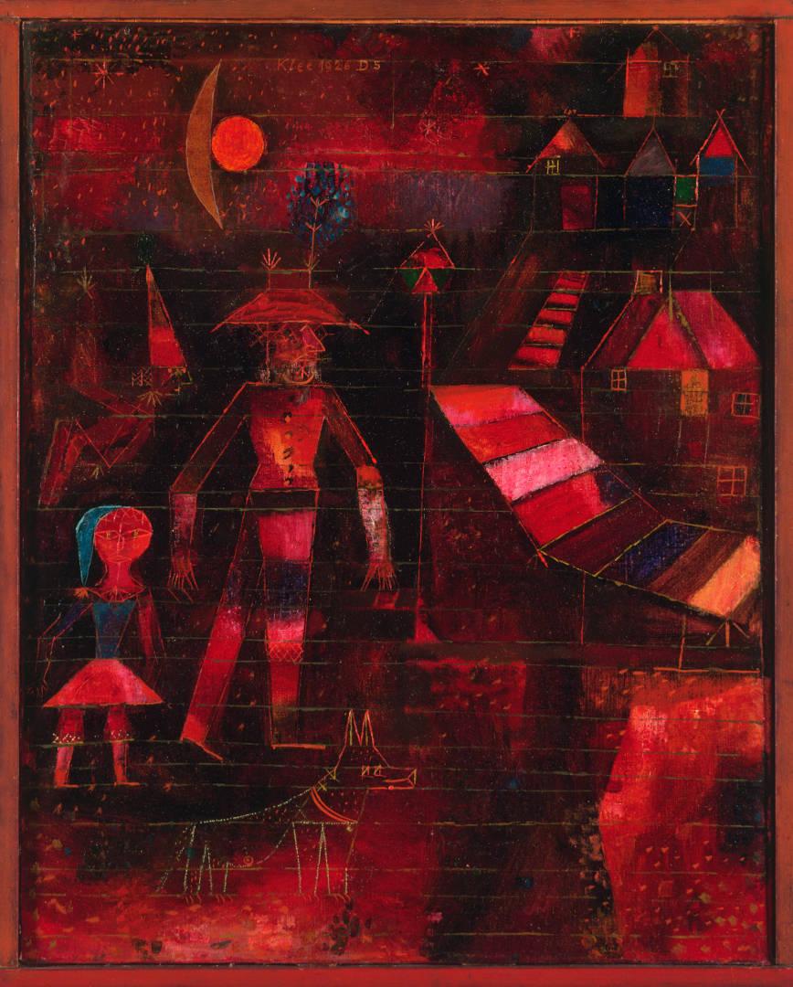 Paul Klee, Carnevale al villaggio (1926; olio su tela su pannello, 65,2 x 44 cm; Filadelfia, Philadelphia Museum of Art)