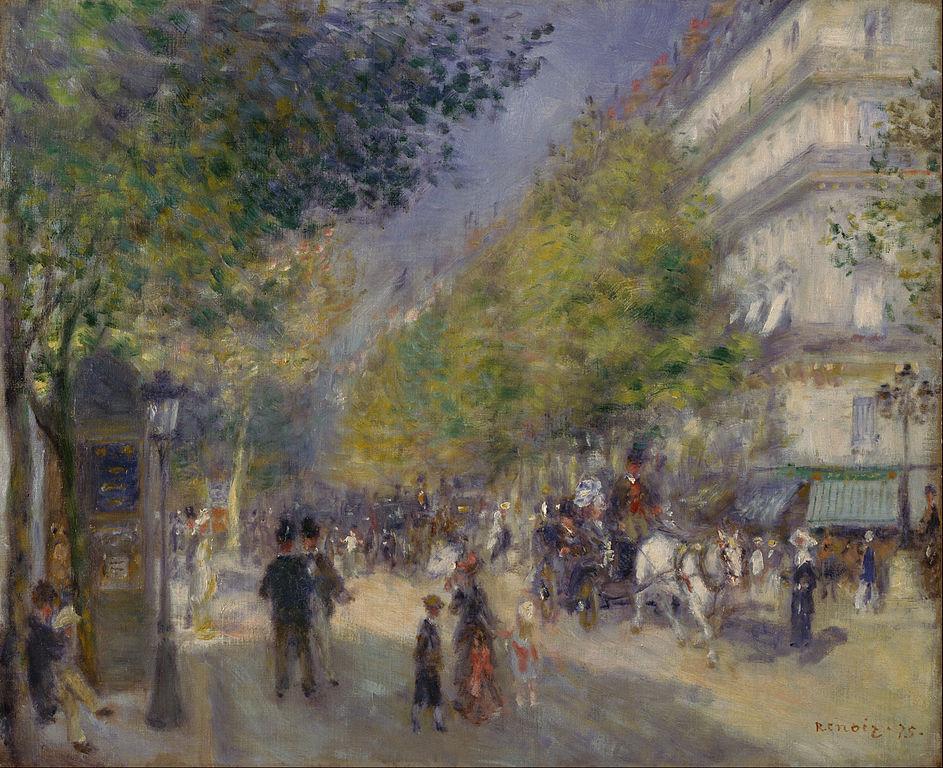 Pierre-Auguste Renoir, I Grands Boulevards (1875; olio su tela, 52,1 x 63,5 cm; Filadelfia, Philadelphia Museum of Art)