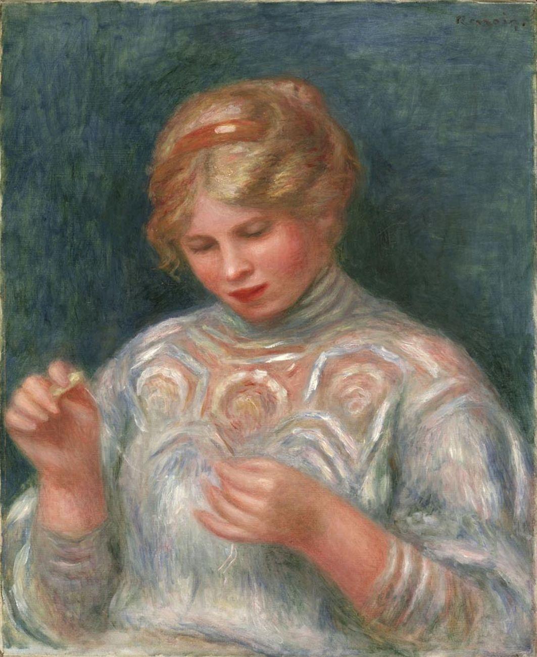 Pierre-Auguste Renoir, Ragazza che fa il merletto (1906; olio su tela, 56,5 x 46,7 cm; Filadelfia, Philadelphia Museum of Art)