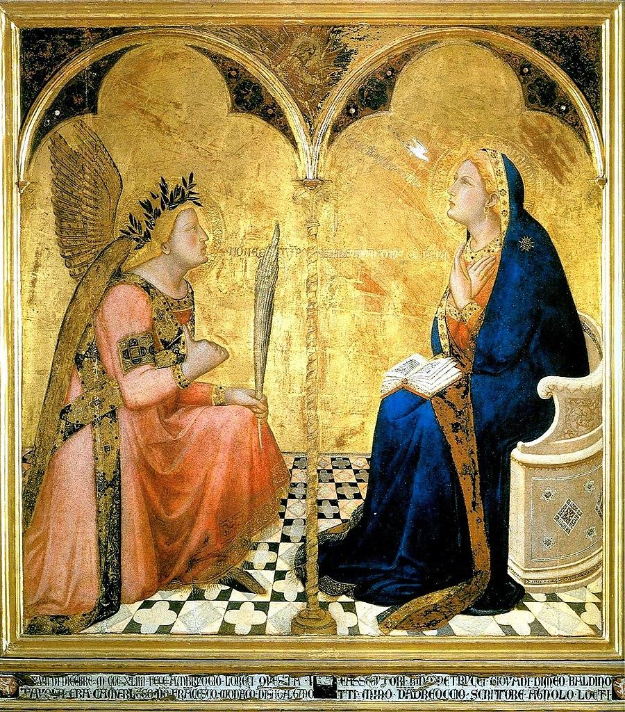 Ambrogio Lorenzetti, Annunciazione (1344; tempera e oro su tavola, 121,5 x 116 cm; Siena, Pinacoteca Nazionale)