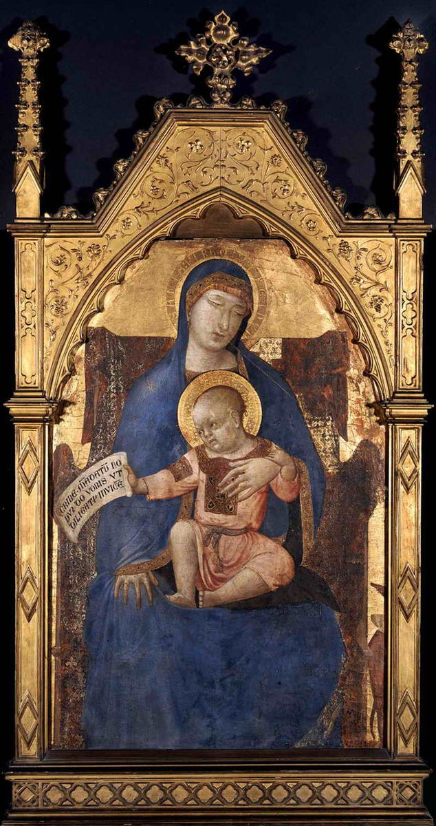 Ambrogio Lorenzetti, Madonna col Bambino in trono (1330-1340 circa; tempera, oro e argento su tavola, 85 x 58 cm; Budapest, Szépm?vészeti Múzeum)