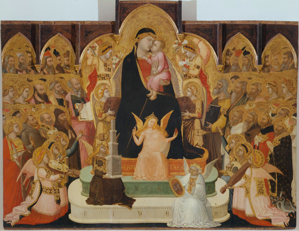 Ambrogio Lorenzetti, Madonna col Bambino in trono con Virtù teologali, angeli musicanti, santi e profeti, nota anche come Maestà di Massa Marittima (1335 circa; oro, argento, lapislazzuli e tempera su tavole di legno di pioppo, altezza 161 cm il pannello centrale, 147,1 i laterali, larghezza 206,5 cm; Massa Marittima, Museo d'Arte Sacra)