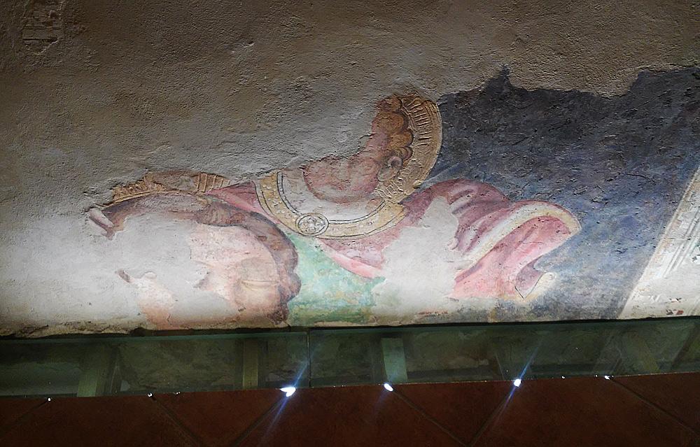 Ambrogio Lorenzetti, San Cristoforo con Gesù Bambino sulle spalle (1340 circa; affresco; Massa Marittima, Museo degli antichi organi meccanici)