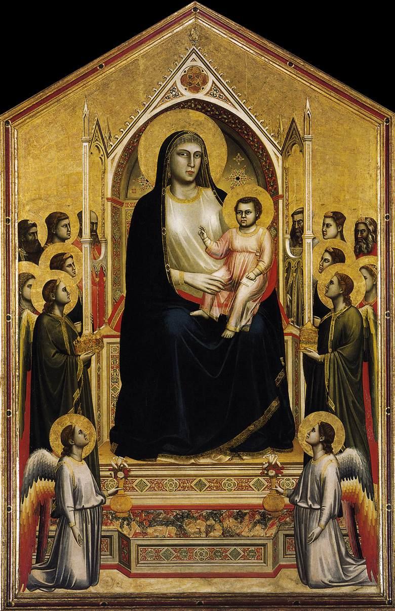 Giotto, Maestà di Ognissanti (1310 circa; tempera su tavola, 325 x 204 cm; Firenze, Uffizi)