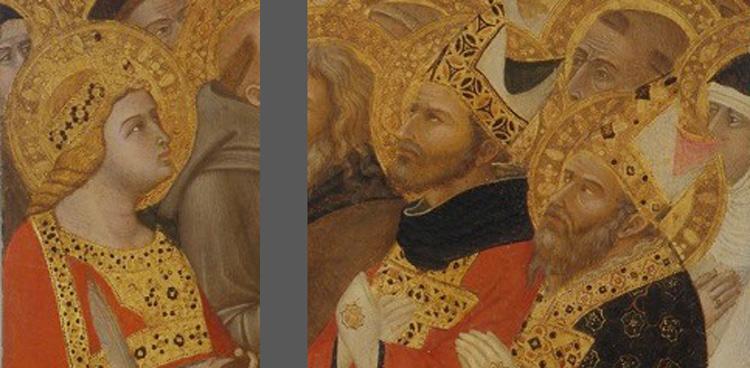 Maestà di Massa Marittima, santa Caterina d'Alessandria, sant'Agostino e san Cerbone