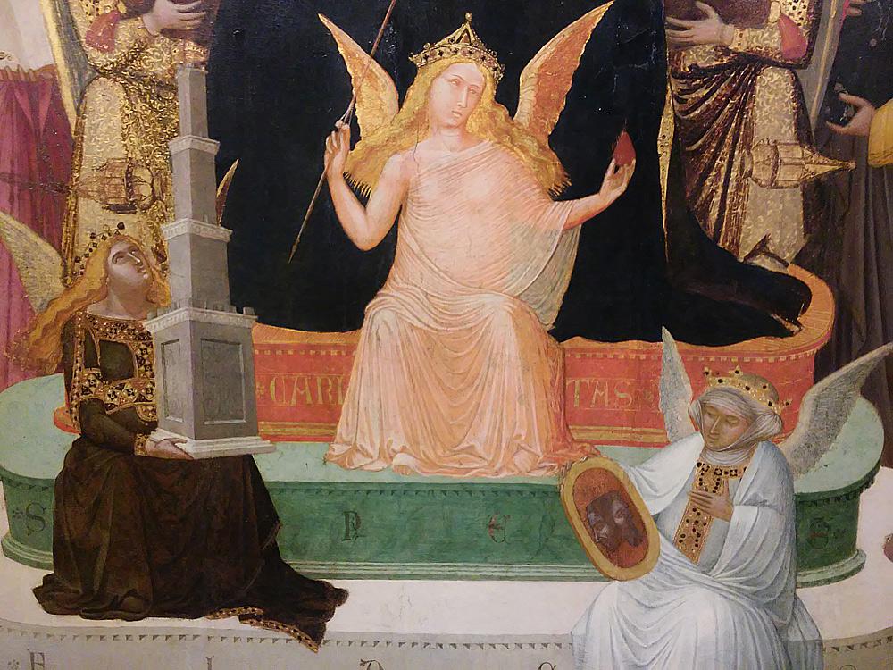 Maestà di Massa Marittima, le tre virtù teologali