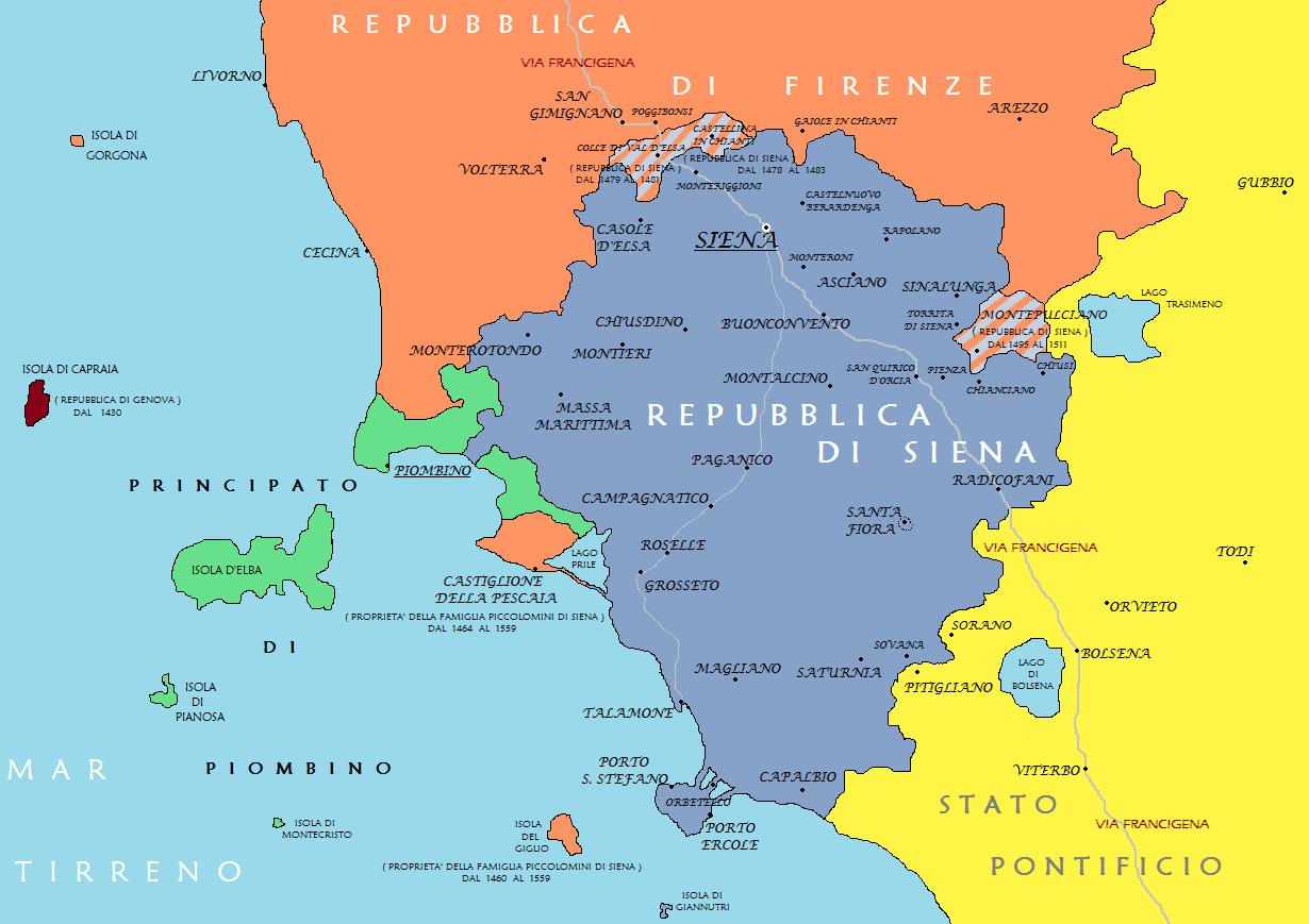 La Repubblica di Siena tra il XV e il XVI secolo. Da Ettore Pellegrini, La caduta della Repubblica di Siena (NIE, 2007)