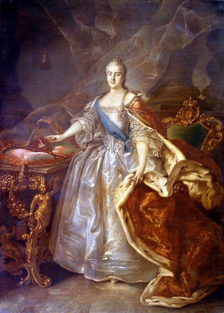 Ivan Argunov, Ritratto di Caterina la Grande (1762; olio su tela, 245 x 176 cm; San Pietroburgo, Museo Russo)