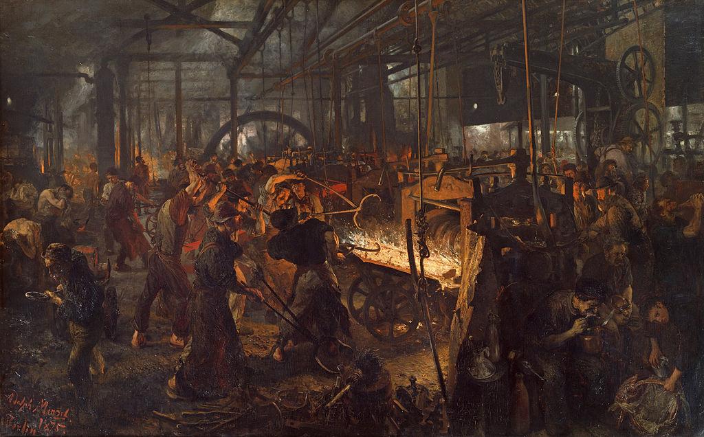 Adolph von Menzel, La fucina (1872-1875; olio su tela, 158 x 254 cm; Berlino, Staatliche Mueeen)