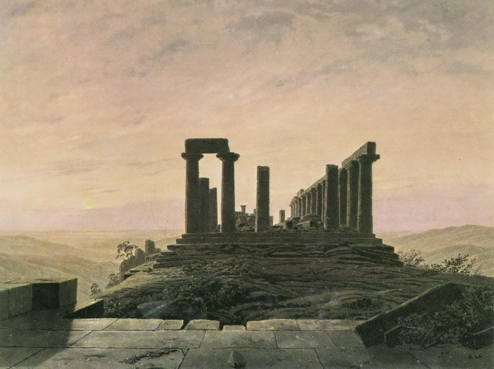 Caspar David Friedrich, Il tempio di Giunone ad Agrigento (1830; olio su tela, 54 x 72 cm; Dortmund, Museum für Kunst und Kulturgeschichte)