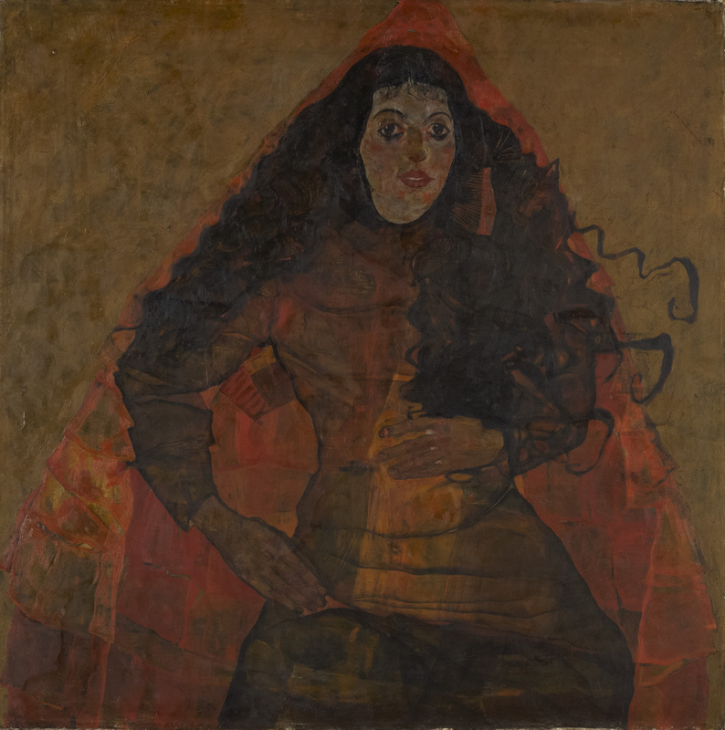 Egon Schiele, Ritratto di Trude Engel (1911; olio su tela, 100 x 100 cm; Linz, Neue Galerie der Stadt)