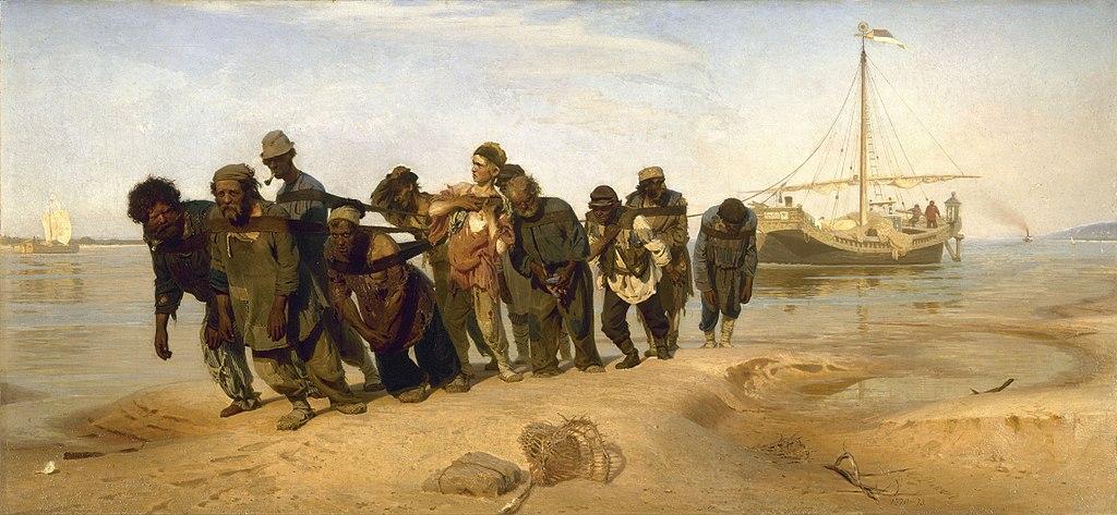 Il'ja Repin, I battellieri del Volga (1870-1873; olio su tela, 131,5 x 281 cm; San Pietroburgo, Museo Russo)
