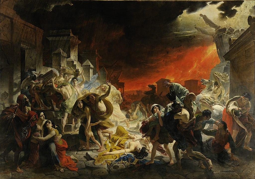 Karl Brjullov, L'ultimo giorno di Pompei (1833; olio su tela, 456,5 x 651 cm; San Pietroburgo, Museo Russo)
