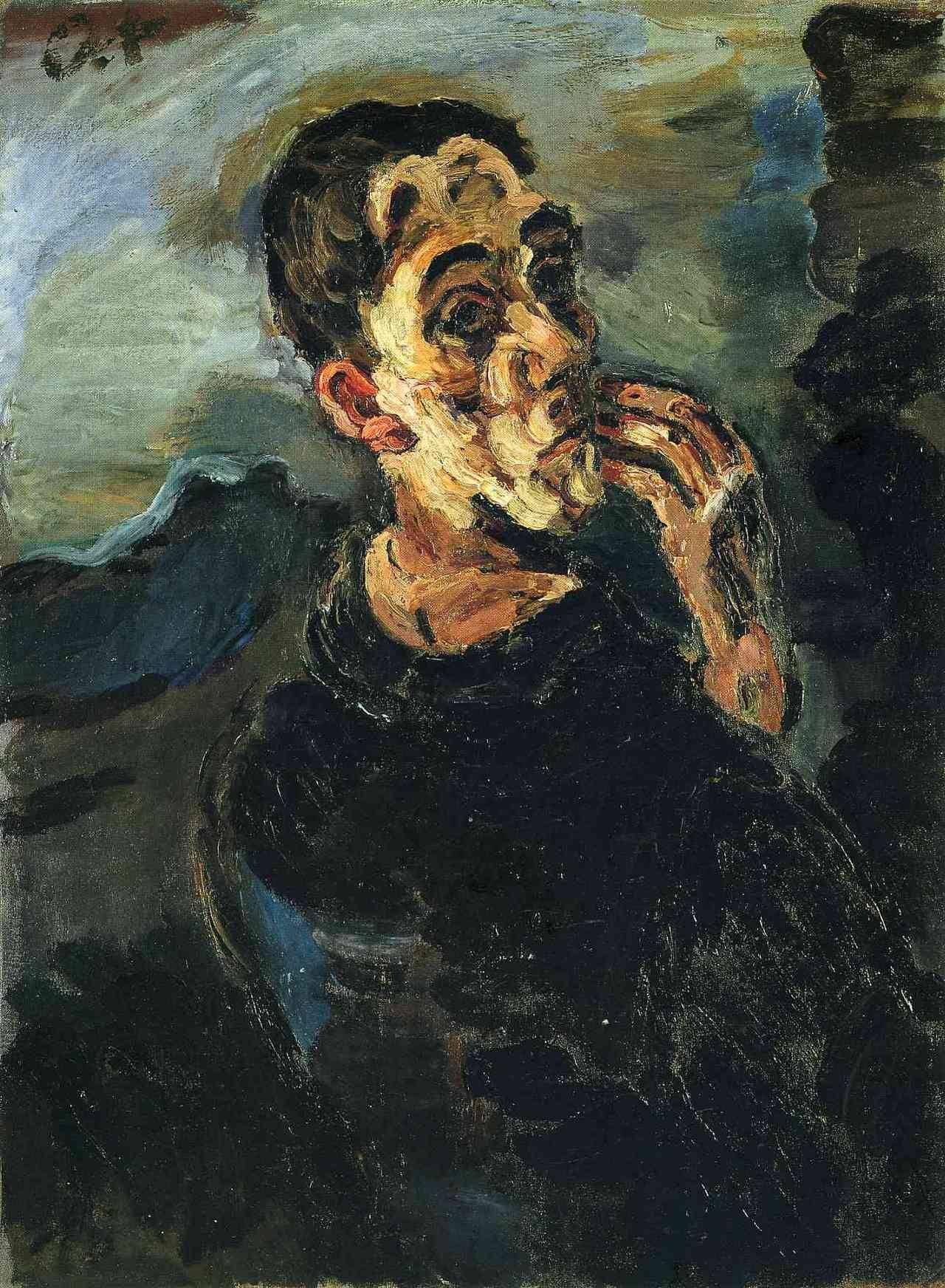 Oskar Kokoschka, Autoritratto con mano alla bocca (1918-1919; olio su tela, 83,6 x 62,8 cm; Collezione privata)