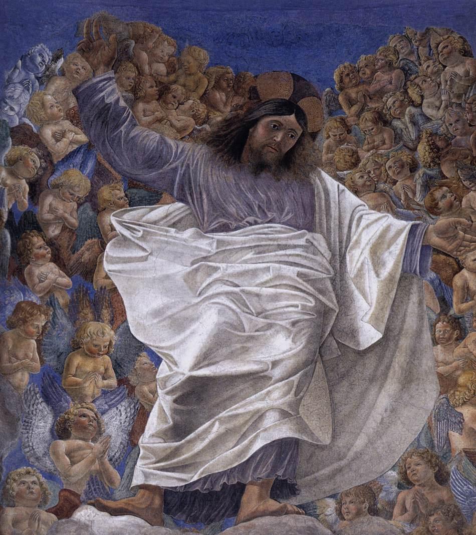 Melozzo da Forlì, Ascensione di Cristo (1480 circa; frammento di affresco staccato, dalla Basilica dei Santi Apostoli di Roma, 280 x 200 cm; Roma, Palazzo del Quirinale)