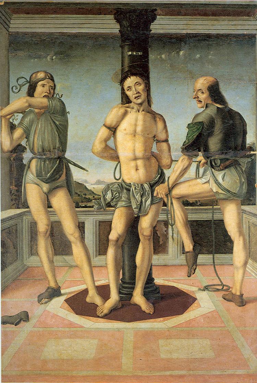 Pietro di Galeotto, Flagellazione, (1480; olio su tela, 196 x 134 cm; Perugia, Oratorio di San Francesco