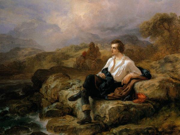 Giacomo Trecourt, Lord Byron sulle sponde del mare ellenico (1850 circa; olio su tela, 153 x 114,5 cm; Pavia, Musei Civici)